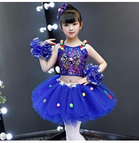 Girls kids royal blue sequins jazz dance dress children show performance dress singers host choru gogo dancers dresses