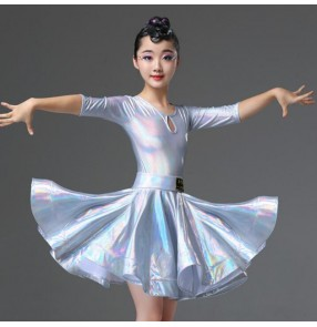 Girls kids silver latin dance dresses children latin dance costumes salsa rumba chacha dance dresses
