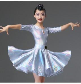 Girls kids silver latin dance dresses children latin dance costumes salsa rumba chacha dance dresses