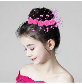 Girls kids stage performance dance rose flowers headdress children modern dance princess evening party hair accessories