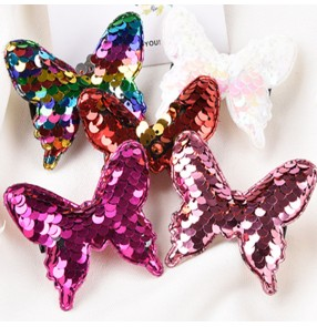 Girls kids stage performance sequin headdress rainbow bufferfly head flowers hairpin hair accessories 4.5cm