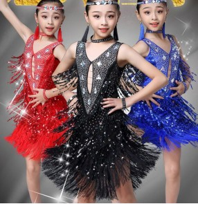 Girls kids tassels sequins latin dance dresses children royal blue red competition stage performance salsa rumba chacha dance skirts dresses