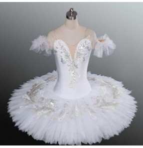 Girls kids tutu white swan lake classical pancake ballerina ballet dress