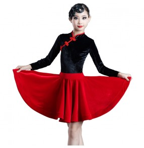 Girls kids velvet black red latin dance dresses stage performance latin qipao dresses salsa dance costumes for kids children
