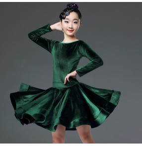 Girls kids velvet dark green latin dance dresses competition salsa rumba chacha dance costumes dresses