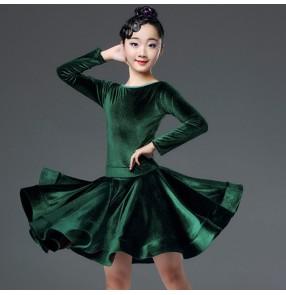 Girls kids velvet dark green latin dance dresses competition salsa rumba chacha dance costumes dresses