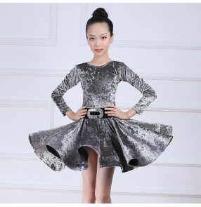 Girls kids velvet silver latin dance dresses for children black ballroom salsa black velvet latin dress for girls