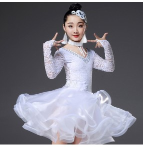 Girls kids white lace latin ballroom dancing dresses stones modern dance  stage performance rumba chacha dance skirts costumes