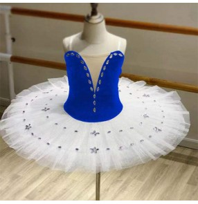 girls kids White with royal blue velvet tutu skirts ballet dance dresses little swan lake pancake ballerina classical ballet dance costumes for children