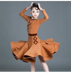 Girls kids wine coffee purple latin dance dresses competition ballroom dresses salsa rumba chacha dance dress costumes