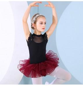 Girls kids  wine color ballet dance tutu skirts  lace leotard tulle skirt Children ballet dance practice clothes Girls ballet dancing clothes
