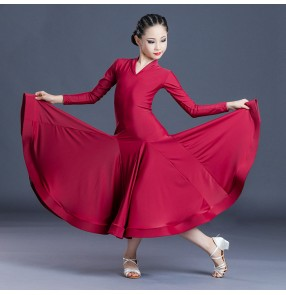 Girls kids wine color ballroom dance dresses stage performance ballroom dancing dresses waltz tango dance dresses for children