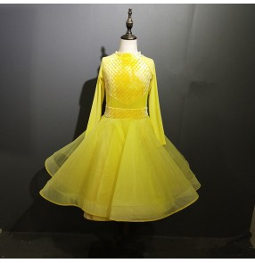 Girls kids yellow ballroom dancing dresses waltz tango stage performance dancing dresses