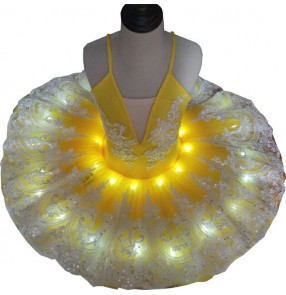 Girls kids yellow led light yellow pancake ballerina ballet dresses tutu dress