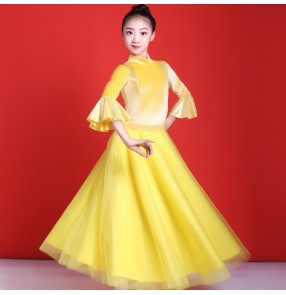 Girls kids yellow velvet ballroom dancing dresses waltz tango dance dress costumes