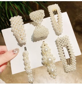 Girls korean style beads hair clip cute baby stage performane fairy drama cosplay beads hairpin hair accessories 6pcs in one pack