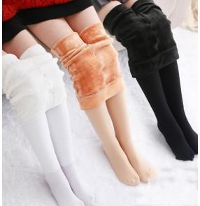 Girls' latin ballet dance Plush warm leggings wear autumn and winter velvet thickened skin color pantyhose children's practice dance socks