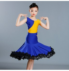 Girls latin dance dress patchwork yellow with royal blue salsa chacha latin dance dress for kids