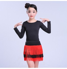 Girls latin dance dresses black and red tassels competition stage performance salsa chacha rumba dancing tops and leotards skirts