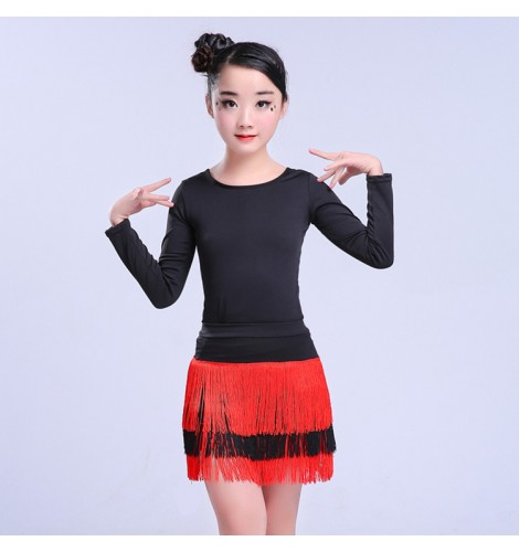 5fbc702e46f2 Girls latin dance dresses black and red tassels competition stage  performance salsa chacha rumba dancing tops and leotards skirts