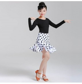 Girls latin dance dresses children white polka dot stage performance professional chacha rumba dance dresses leotard top and skirt