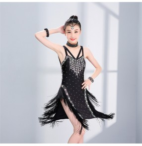 Girls latin dance dresses competition salsa rumba chacha dance skirts costumes dress