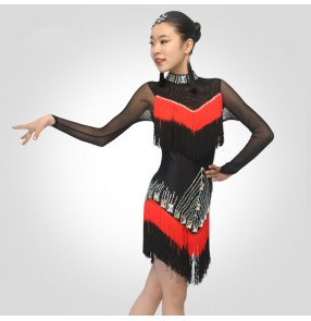 Girls  latin dance dresses gradient tassels stones blue red stage performance bling modern dance rumba chacha salsa dance dress skirts