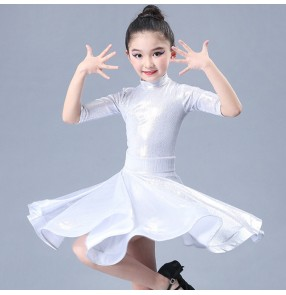 Girls latin dance dresses kids children ballroom competition training stage performance rumba salsa chacha dance skirts costumes