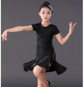 Girls latin dance dresses kids children black colored stage performance rumba chacha salsa dance dresses