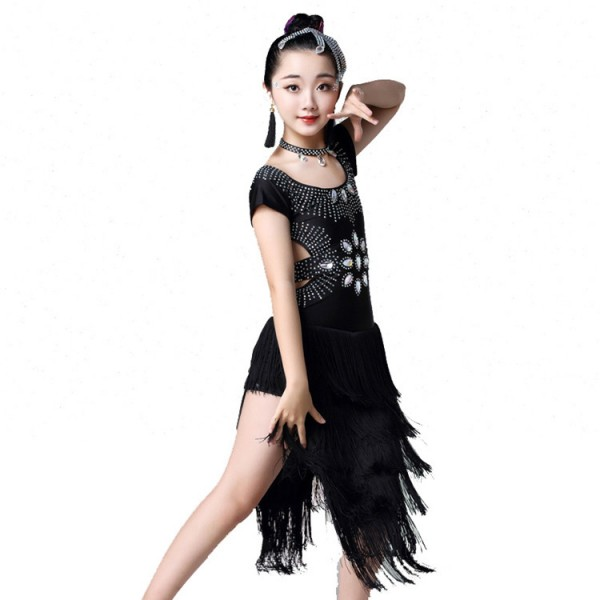 e69ec957c737 Girls latin dance dresses kids children rhinestones tassels stage  performance competition salsa rumba chacha dancing skirts costumes