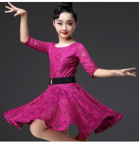 Girls latin dance dresses lace dark green pink red wine competition professional rumba salsa chacha dance skirt dress costumes