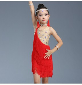 Girls latin dance dresses tassels stage performance bling modern dance samba salsa chacha latin dance skirts costumes dres