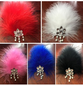 Girls latin dance feather  headdress modern dance jazz singers stage performance hair accessories