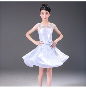 Girls latin dresses kids children samba chacha rumba dance dress skirts costumes