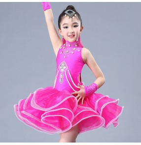 Girls latin dresses kids children stage performance rumba chacha salsa rumba dance costumes dress