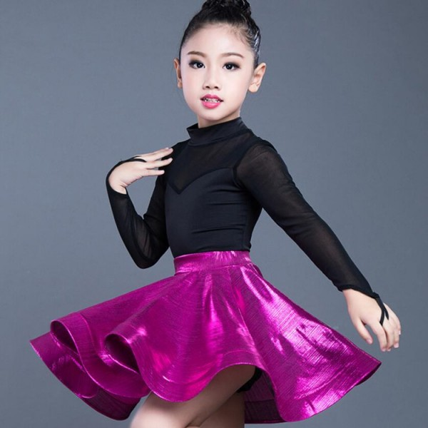 4a2c9b1f8ab8 Girls latin dresses salsa rumba dress for kids pink gold black silver competition  stage performance professional ballroom leotard tops and skirts