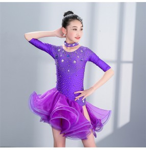 Girls latin dresses violet red kids competition stage performance rumba salsa cha cha dance skirts dresses