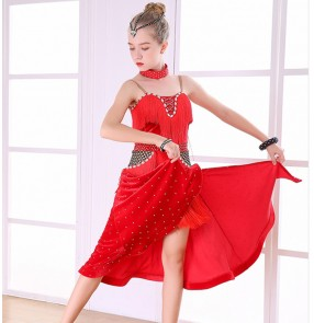 Girls latin tassels ballroom dance dresses black red stones competition rumba chacha dance skirts costumes dress