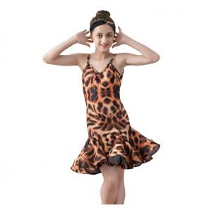 Girls leopard pinted latin dance dresses  kids children stage performance salsa rumba chacha dance dresses skirts