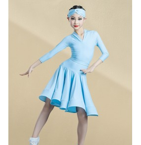 Girls light blue ballroom latin dance dresses competition latin dance costumes ballroom dance dress for kids