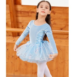 Girls light blue velvet tutu skirt ballet dance dress for kids stage performance practice exercises lace ballet dance costumes for children