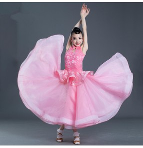 Girls light pink ballroom dancing dresses kids children ballroom waltz tango dance dresses costumes