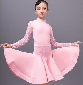 Girls light pink lace latin dance dresses for kids ballroom dance dress children latin dance skirt