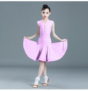 Girls light pink mint latin dance dresses mint light purple latin ballroom dance costumes for children