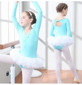 Girls' long-sleeved tutu skirt Girls' practice examination clothes Gymnastics performance leotards for kids children's ballet clothes