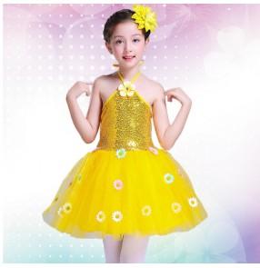Girls  modern dance ballet dress princess jazz singers dress chorus school stage performance costumes
