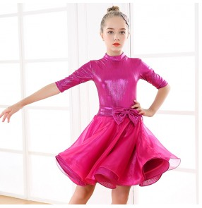 Girls modern dance ballroom latin dance dresses pink royal blue stage performance rumba chacha dance skirts dress