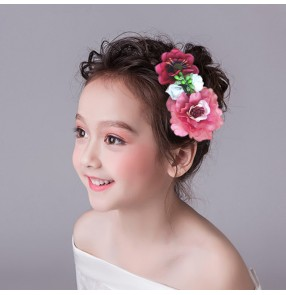 Girls modern dance hair flowers hair clip kids children wedding evening party flower accessories headdress