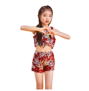 Girls modern dance hiphop street dance costumes red sequin drummer gogo dancers stage performance outfits costumes