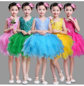 Girls modern dance princess dresses kids children sequin singers chorus show party stage performance flower dresses